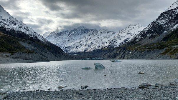 Hooker Glacier, Glacier, New, Zealand, Mountain, Aoraki