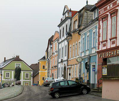Houses, Row Of Houses, Colorful, Wintry, Weitra