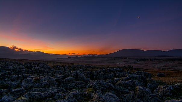 Landscape, First, Light, Yorkshire, Dales, Sunrise