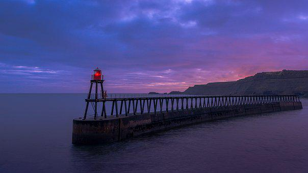 Whitby, East Pier, Pier, Yorkshire, England, Light, Red