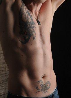 Man, Tattooed, Muscular, Body, Male, Naked, Male Torso