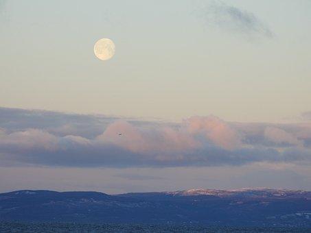 Moon, Luna, Montañas, Night, Sky, Nature, Mountain