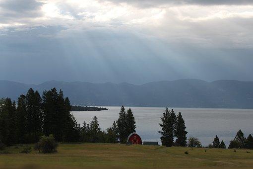 Flathead Lake, Lake, Water, Barn, Mountains, Tranquil