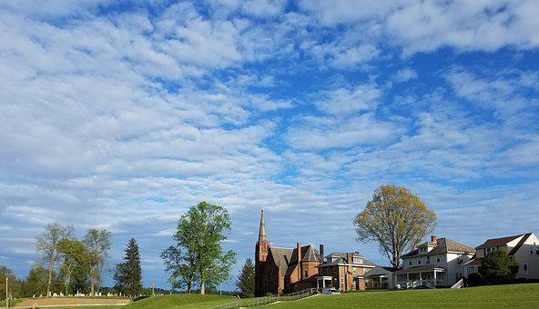 Catholic, Church, Clouds, Ohio, United States, Cemetery