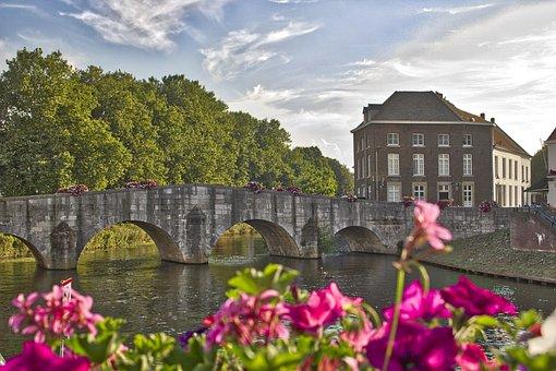 Bridge, Roermond, Architecture, Flowers, Netherlands