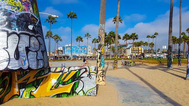 Beach, Art, Venice Beach, Sand, Street Art, Sky, Blue