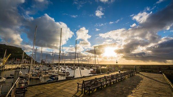 Harbour, Pier, Sunrise, Rain, Shower, Coast, Water, Sea