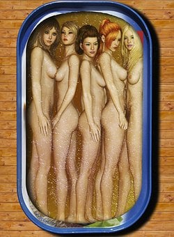Women, Naked, Oily, Body, Tin Of Sardines, Female, Skin