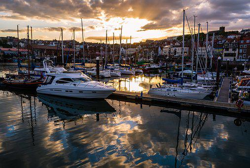 Scarborough, Harbour, Sunset, Yorkshire, Sky, Seaside