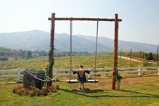 Chiang Rai, Thailand, Swing, Large, Woman, Rock, Nature
