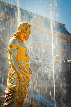 Peterhof, St Petersburg Russia, Fountain, Statue, Water