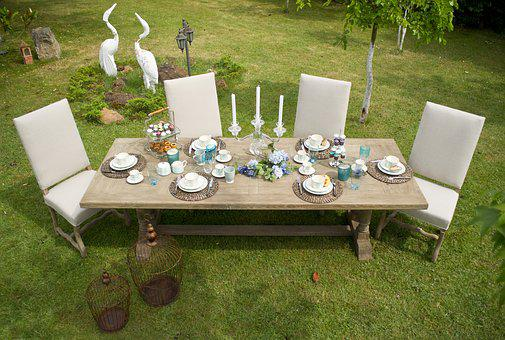 Furniture, Table, Grass, Garden, Summer, Background