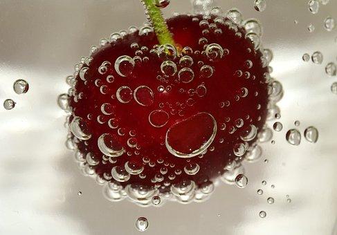 Cherry, Blow, Water Bubbles, Water, Air Bubbles, Bubble