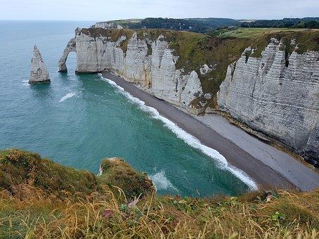 Cliff, Felsentor, Coast, Normandy, Beach, Etretat, Rock