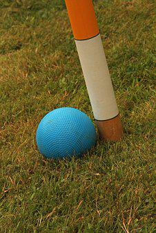 Croquet, Wooden Balls, Hoop, Equipment, Mallet, Green