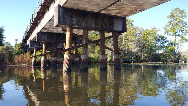 Bridge, River, Fall