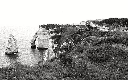 Cliff, Felsentor, Coast, Normandy, Rocks Stone Coast
