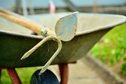 Hoe, Wheelbarrow, Gardening, Faceplate, Cart