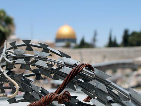 Barbed Wire, Jerusalem, Israel, Palestine, Wailing Wall