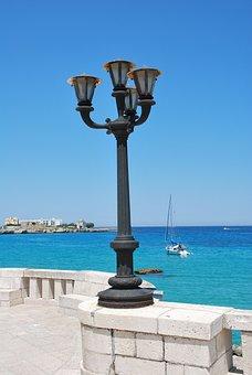 Lamppost, Otranto, Sea, Salento, Puglia, Holidays