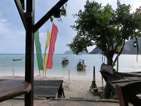 Phi-phi Island, Beach, Longboat, Thailand, Paradise
