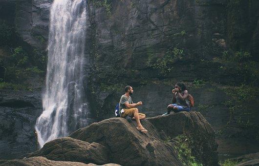 Waterfalls, Love, Couple, Woman, Young, Man, Romantic
