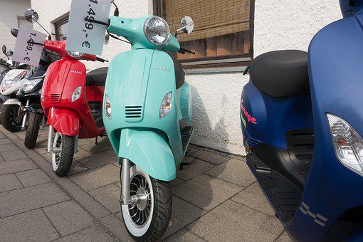 Motor Scooter, Summer, Driving Pleasure, Series, Blue