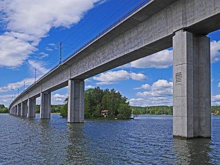 Mälaren, Lake, Railway Bridge, Lake Crossing
