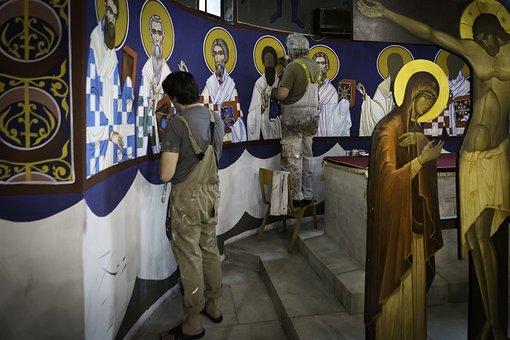 Belgrade, Serbia, St Sava Chapel, Icon Painting