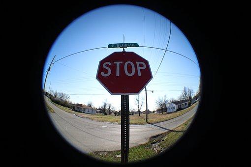 Fisheye, Stop, Sky, Blue, Travel, Outdoor, Urban, Sign