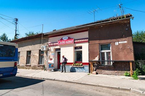 Uzhgorod, Ukraine, Road, Cafe, Summer, Blue, Sky