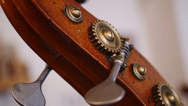 Close, Double Bass, Screw, Mechanics, Workshop, Wrench