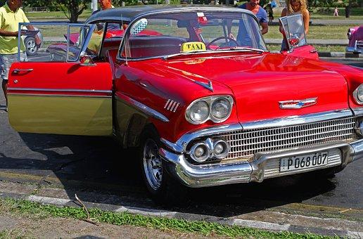Cuba, Antique Car, Chevrolet, Chevy, Red, Chrome, Car