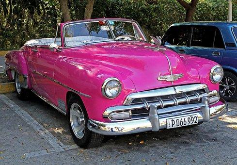 Cuba, Antique Car, Retro, Pink, Chevrolet, Chrome