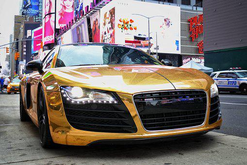 Auto, Audi, R8, Audir8, Gold, Empire, Sports Car