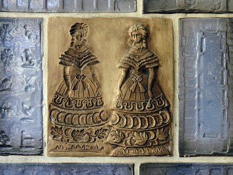 Tile, Motif Tile, Coburg, Deco, Biedermeier, Ceramic