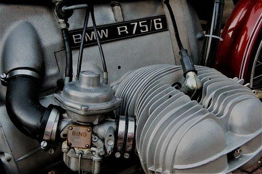 Bmw, Boxer, R75 6, Cylinder, Motor, Carburetor, Bing