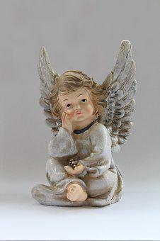Angel, Porcelain, Figure, Decoration, Christmas, Silver