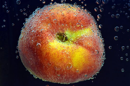 Peach, Fruit, Stone Fruit, About, Water, Diving