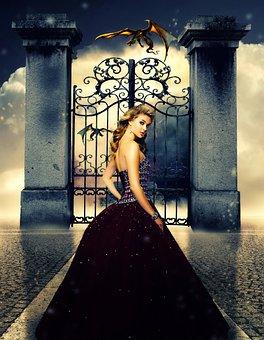 Princess, Castle, Gate, Fairytale, Tale, Fantasy, Cute