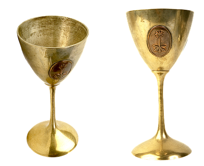 Gilding Cup, Glass, Tableware, Elegant, Hammered, Gold