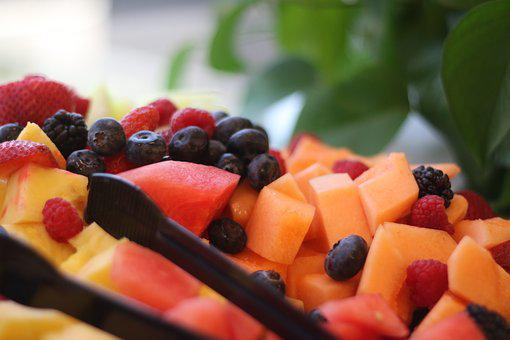 Fruit Tray, Compote, Blueberries, Cantaloupe, Sweet