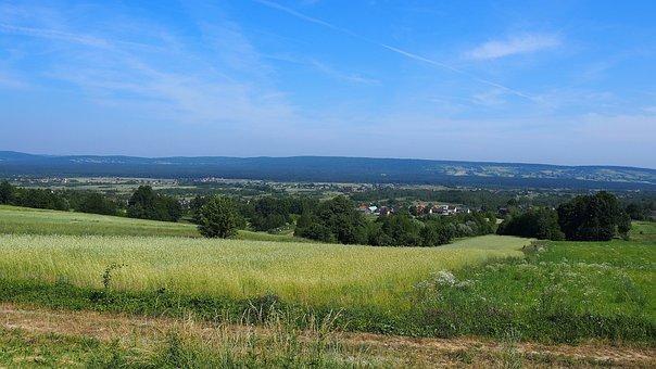 Landscape, Swietokrzyskie Mountains, Field, Corn