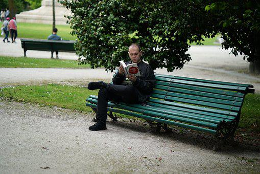 Poet, Thinker, Park, Book, Read, Park Bench, Bank