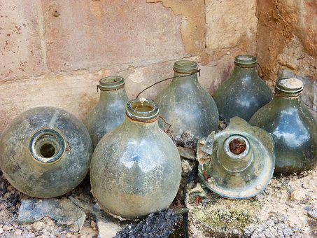 Bottles, Traps For Mosquitoes, Rural, Olive, Glass, Old
