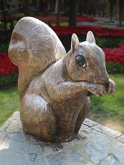 Squirrel, Sculpture, Holzfigur, Emirganer Grove