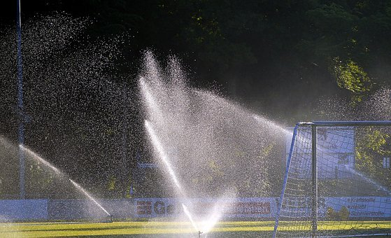 Football Pitch, Sprinkler System, Irrigation, Rush