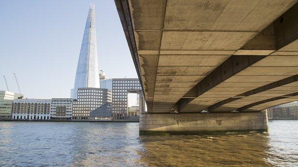Bridge, London Bridge, The Shard, River, Landmark