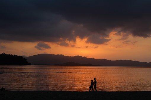 Sunset, Beach, Walk, Walk On The Beach, Evening