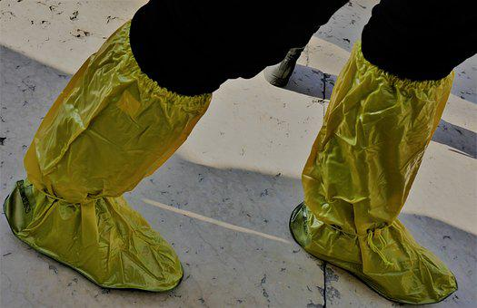 Rubber Boots, Overshoes, Rain Shoes, Yellow, Trousers
